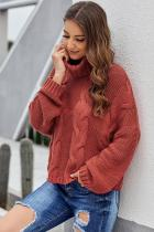 Red Cuddle Weather Cable Knit Handmade Turtleneck Sweater