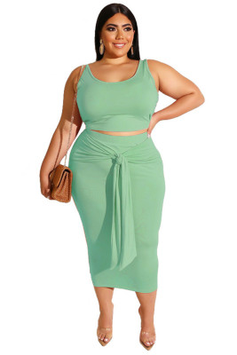 Light Green Solid Color Casual Outfits Bodycon Plus Size Two Piece Set