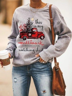 Grey Hallmark Christmas Movies Watching Sweatshirt