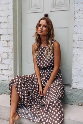 Coffee Dot Print Sleeveless Dress