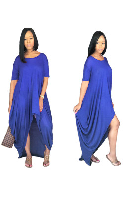 Solid Color Women Irregular Loose Casual Maxi Dress