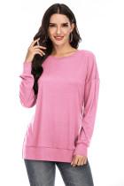 Pink Solid Side Split T-shirt