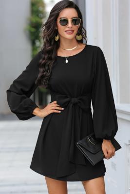 Black Solid Mini Dress with Belt
