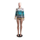 Blue Aztec Printed Knitted Hoodies with Pocket