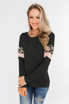 Black Long Sleeve Leopard Stripes Blouse