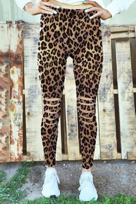 Leopard Hollow Out Fitness Activewear Leggings