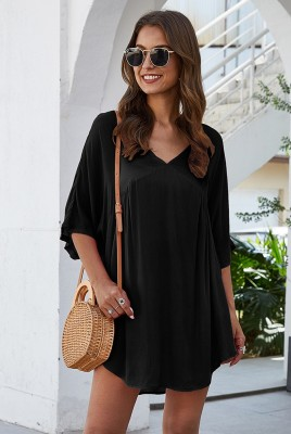 Black Half Sleeve Solid Beach Mini Dress