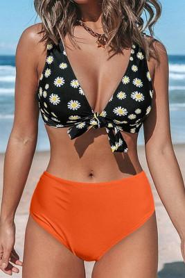 Daisy Ruffled Tie High Waist Bikini Set