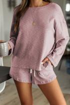 Pink Pocketed Knit Loungewear Set