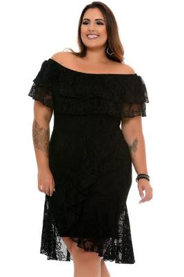 Black Floral Lace Overlay Plus Size Off Shoulder Dress
