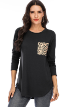 Black Solid Top with Leopard Pocket