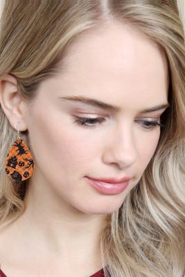 Black Halloween Element Leather Earrings
