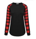 Black Plaid Sleeve Top