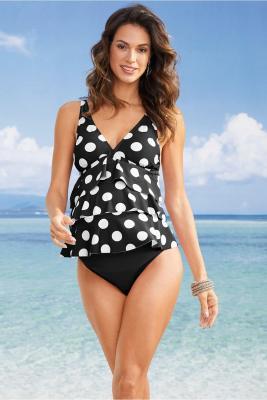 Black Dot Print Ruffled Layered Maternity Swimsuit