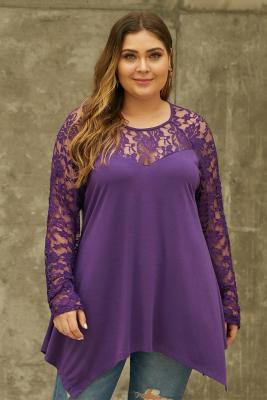 Purple Plus Size Lace Yoke Stitching Asymmetic Hemline Top
