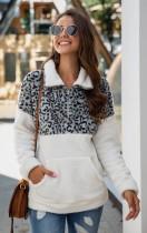 White/Grey Leopard Contrast Zip High Neck Fleece Sweatshirt