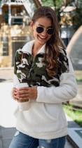 White Camouflage Contrast Zip High Neck Fleece Sweatshirt