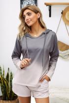 Gray Dip Dye Hooded Lounge Sweatshirt Shorts Set