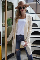 Apricot Long Loose Style Cardigan With Pockets