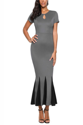 Grey Short Sleeve Mermaid Long Bodycon Dress