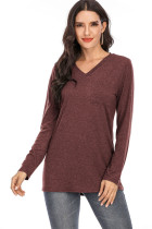 Burgundy V-neck Solid Top with Pocket