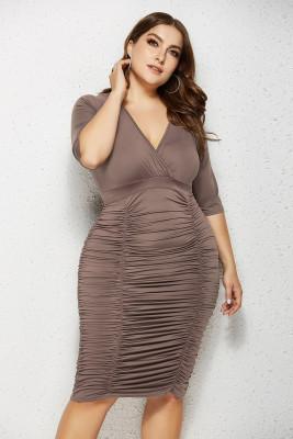 Coffee V Neck Ruffled Plus Size Bodycon Dress