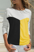Yellow Color Block Splicing O-Neck Blouse