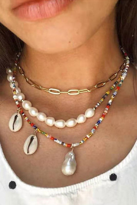 Shell Pendant Beaded Chain Necklace Set
