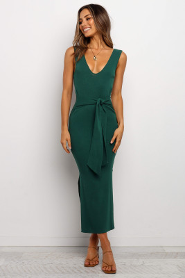 Solid Open Back Dresses with Belt
