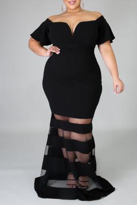 Black Plus Size Off Shoulder Banded Maxi Dress