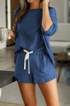 Blue Pocketed Knit Loungewear Set
