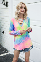 Multi-colored Tie Dye V-neck Hollowed-out T-shirt