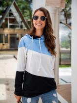 Colorblock Drawstring Zipper Design Hooded Sweatshirt