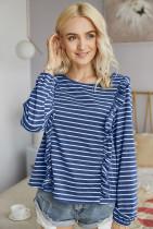 Navy Striped Long Sleeves T-shirt