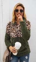 Army Green Leopard Contrast Zip High Neck Fleece Sweatshirt