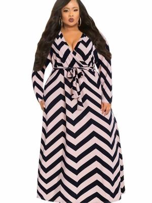 Stripe Style Long Sleeve Plus Size Dress