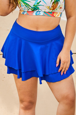 Blue Double-layered Ruffles Beach Skirt