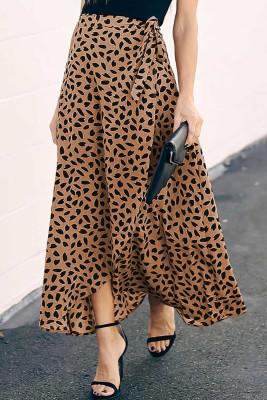 Khaki Spotted Printed Slit Long Skirt