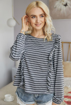 Grey Striped Long Sleeves T-shirt