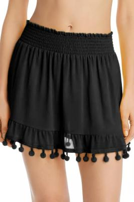 Black Tassel Pompom Ruffled Beach Skirt