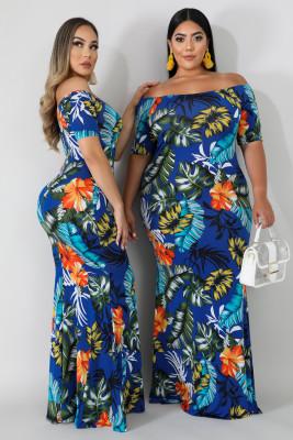 Green Off-the-shoulder Floral Print Plus Size Maxi Dress