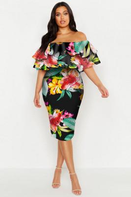 Black Plus Off Shoulder Floral Ruffle Midi Dress