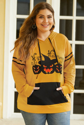 Pumpkin Long Sleeve Kangaroo Pocket Halloween Plus Size Hoodie