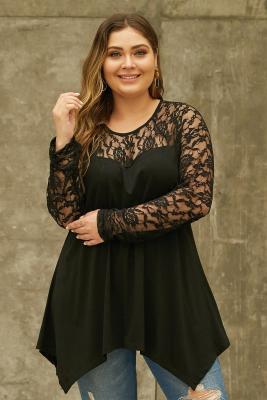 Black Plus Size Lace Yoke Stitching Asymmetic Hemline Top