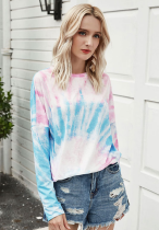 Pink Tie Dye Ombre Colorblock T-shirt