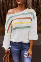 Multicolor Stripes Print White Knit Top