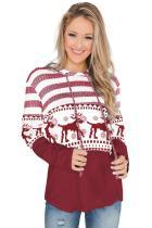 Stripes and Reindeer Print Pullover Hooded Sweatshirt