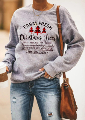 Grey Plaid Christmas Trees Pullover