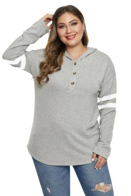 Gray Plus Size Long Sleeve Pullover Hoodie