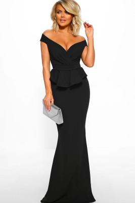 Black Cross Over Peplum Maxi Dress